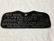 Harley Canadian WLC Military Data Plate Tank Nomenclature Tag WWII 1943 Zinc