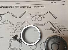 Harley K-Model Chrome Grip Sleeve Retainers & Screws 52-56 OEM# 56235-47