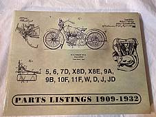 Harley 1909-1932 Parts Catalog Manual Strap Tank Single JD, VL DL RL