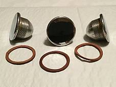Harley 3507-16 JD Single VL RL 1916-34 Nickel Gas Cap Set w/ Leather Gaskets USA