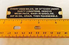 "Harley 6"" J-Slot Air Cleaner Instruction Tag Brass Knucklehead UL WL"