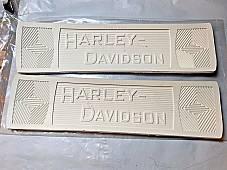 Harley 2940-14W JD VL Knuckle White Canvas Back Footboard Mats w/Rivets 1914-39